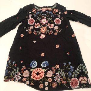 Zara girls black floral embroidered dress
